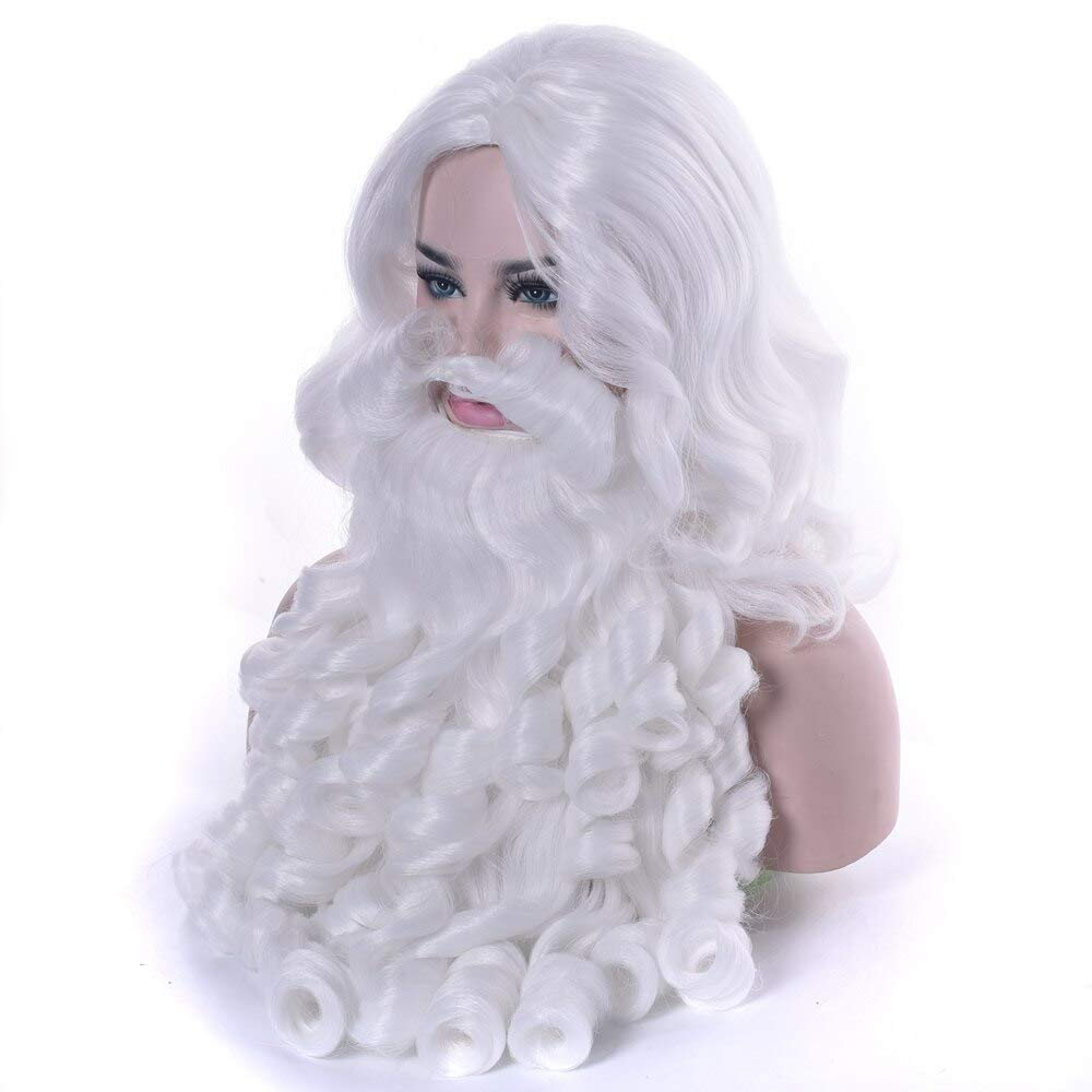 HAOMAO E Gift Santa Cla Beard Synthetic Hair Short Cosplay Wigs for Men White