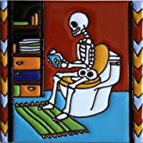 6x6 Reading The News. Day-Of-The-Dead Clay Tile