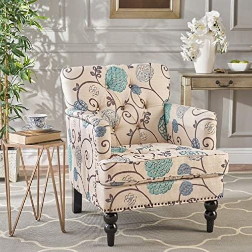 Christopher Knight Home Harrison Floral Fabric Tufted Club Chair, White Blue