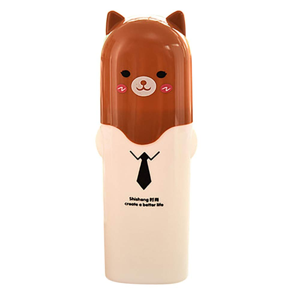 Yu2d 🌹🌹 Toothbrush Flower Box Travel Storage Portable Plastic Toothpaste Box Organizer(Brown)
