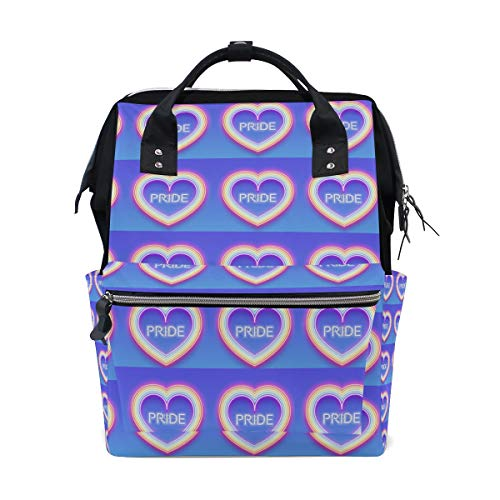 (Fashion and leisure Neon Glowing Rainbow Heart backpack leisure/travel/school/backpack)