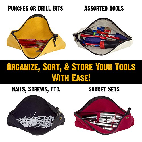 Bad Ass Work Gear | 4-Pack of Heavy Duty 20 oz. Canvas Zipper Tool Bags in 4 colors | Toughest Utility Bag by Bad Ass Work Gear (Image #1)