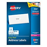 Avery Easy Peel Address Labels for Laser Printers, 1 x 2.625 Inches, White, Box of 7500 Labels (5960)