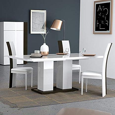 NOUVOMEUBLE Table à Manger Blanche et Grise laquée Design ...