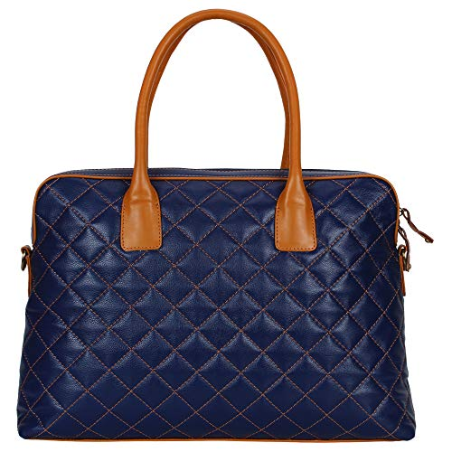 Tribe Quilted leather Laptop Bag for Women, 15.6 Inch Laptop Tote Multi-Pocket Work Tote - Notebook Case Carrying Quilted