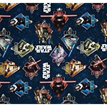 "1/2 Yard - Star Wars Characters in Diamonds Cotton Fabric - Officially Licensed (Great for Quilting, Sewing, Craft Projects, Quilts, Throw Pillows & More) 1/2 Yard X 44"" Wide"