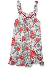 ثوب نوم قطن مشجر وبكشكشة جانبية بفتحة للنساء XS من فابيلوس