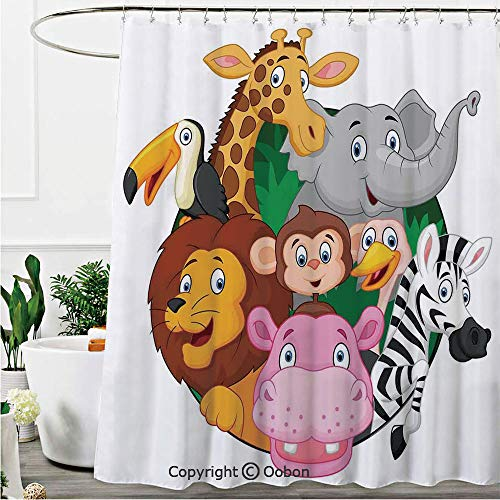 Oobon Shower Curtains, Exotic Safari Animals All Together Comic Creature with Zebra and Elephant Friend Trek Sketch, Fabric Bathroom Decor Set with Hooks, 72 x 72 Inches
