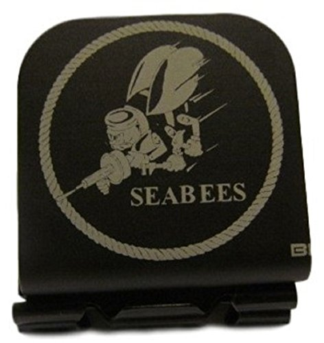 US Navy SeaBees Shoulder Patch Laser Etched Hat Clip Black