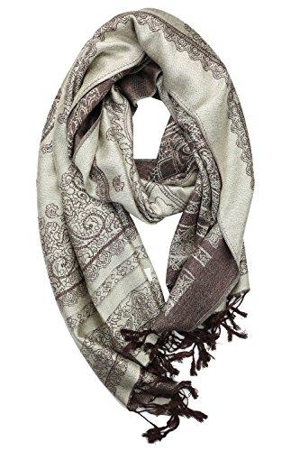 Achillea Elegant Reversible Paisley Pashmina Scarf Wrap Shawl for Evening Dress (Beige and Brown) (Reversible Paisley Pashmina Shawl)