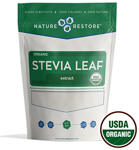 Nature Restore USDA Certified Organic Stevia Leaf Extract Powder, (4 ounces) Non-GMO & Gluten Free, 100% Natural Stevia Sweetener (Reb Non Stevia Bitter)