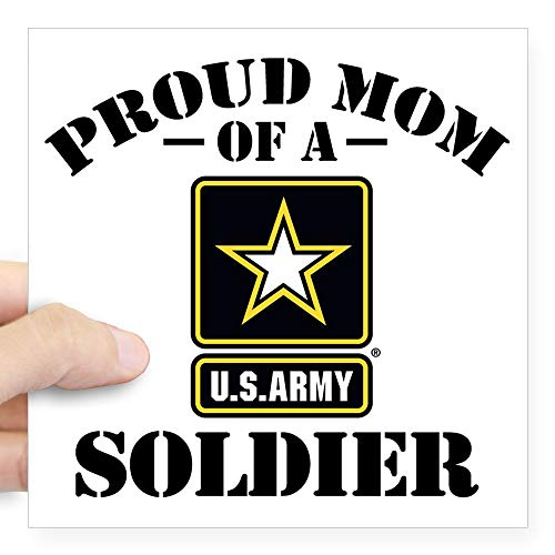 (CafePress Proud U.S. Army Mom Square Sticker 3 X 3 Square Bumper Sticker Car Decal, 3