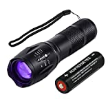 Black Lght UV Flashlights,Blacklight Flashlight Zoomable Adjustable Focus 5 Modes Water Resistant Torch with Rechargeable Lithium Ion Battery & Charger Detector For Pet Urine & Dry Stains (Kit, Black)