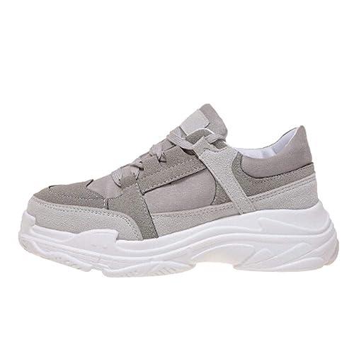 Zapatillas de Deportivos de Running para Mujer Zapatos Gimnasia Ligero Fitness Casual Sneakers Outdoor Calzado,Mujeres Moda Casual Cruz Atado Zapatillas ...