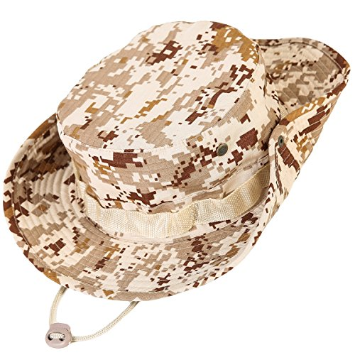kolumb Unisex Military Boonie Hat- Premium Soft Cotton & Polyester Fabric, Sturdy Stitching Wide Brimmed Mens & Womens Boonie Hat- Top Camo Bucket Hat in Attractive Colors for Sports Fishing -