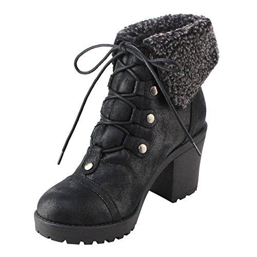 Dbdk Ad51 Femmes Lacets Collier Chunky Talon Cheville Bottes De Combat Noir