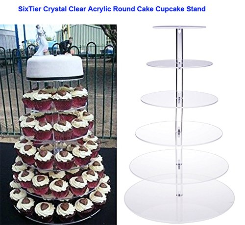 5/6/7-Tier Round Cupcake Stand - Wedding Party Acrylic Tiered Cake Stand - Dessert or Cupcake Tower (6 (Multi Tiered Base)