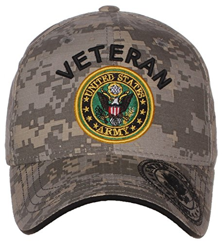 Service Cap Army (US Army Official License Structured Front Side Back and Visor Embroidered Hat Cap (One Size, Veteran Emblem Camo))