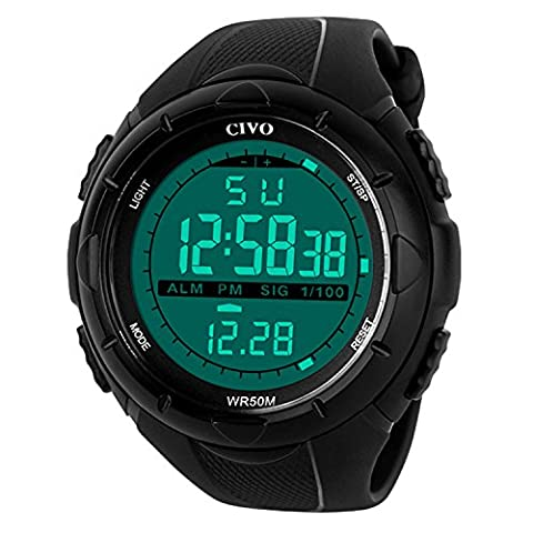 Sport Watch by CIVO Men's Multifunctional Military Waterproof Big Case Digital Casual Business (Mens Swiss Army Watch Diver 500)