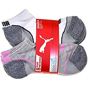 Puma CooCell 8 Pair No Show Womens Socks, Gray (Sock size: 9-11, Shoe size: 5-9.5)