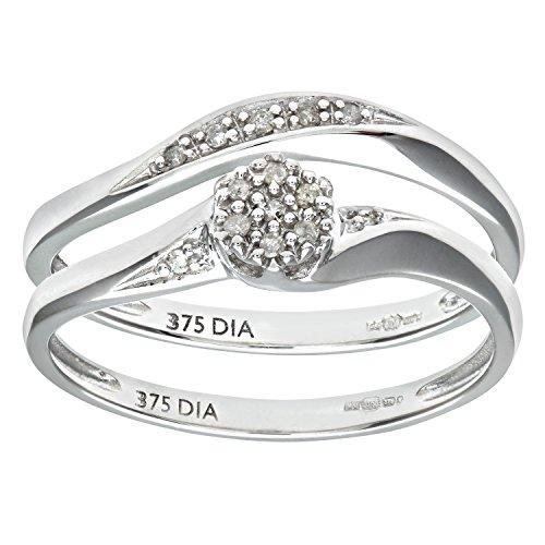Ensemble Bague de fiançailles et alliance Femme - Or Blanc 375/1000 (9 Cts) 2.4 Gr - Diamant