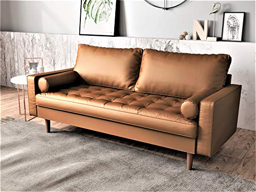 Container Furniture Direct S5453-S Orion Mid Century Modern PU Leather Upholstered Living Room Loveseat with Bolster Pillows, 69.68