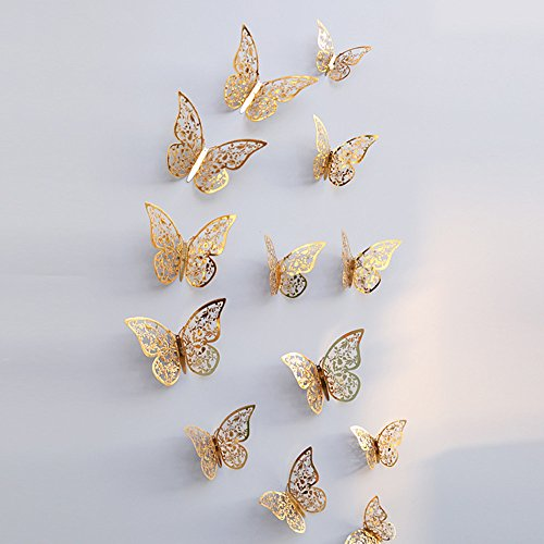 Wall Decal Butterfly, 12 Pcs 3D Hollow Wall Stickers Butterfly Wall Stickers DIY Art Decor Crafts for Home Decoration (Gold - C) - Home Interior Decor