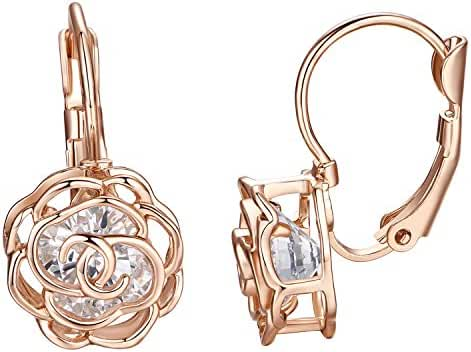 Yoursfs Rose Gold Leverback Women Elegant Yellow Petal Shape Hollowed Out Earrings for Mother Day