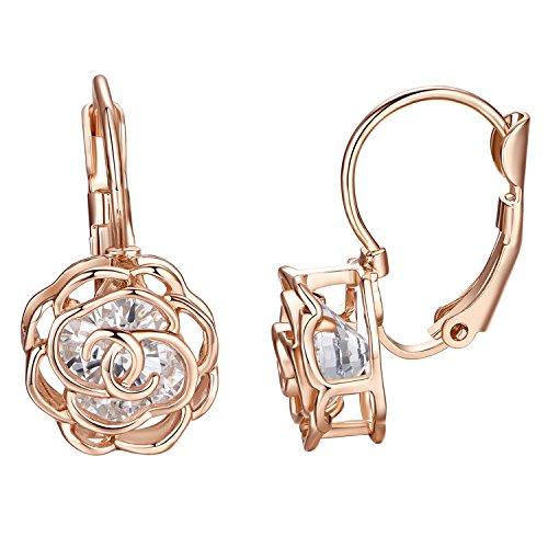 Yoursfs Leverback Earring18K Rose Gold Plated Wedding For Women Minimalist Leverback Earrings (Bronze Leverback Earring Hooks)