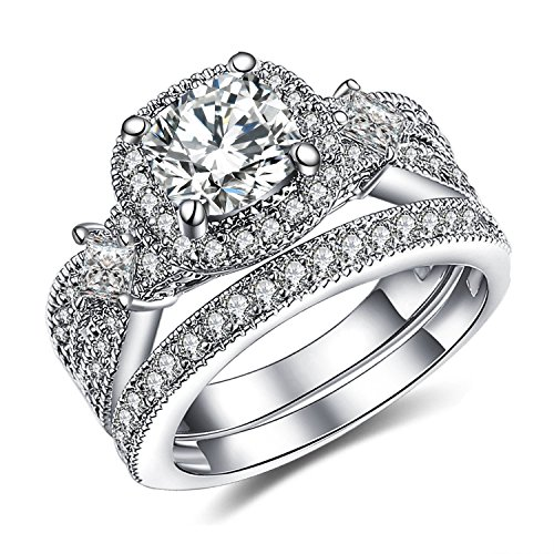 GuqiGuli 925 Solid Sterling Silver Bridal Wedding Band Engagement