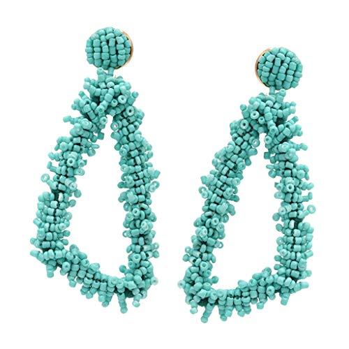 Women Chic Stylish Bohemian Geometric Triangle Beaded Drop Dangle Earrings Necklace Jewelry Crafting Key Chain Bracelet Pendants Accessories Best| Color - Light Blue
