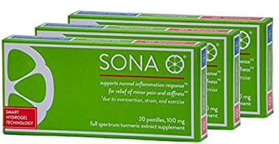 SONA Turmeric Supplement, High Absorption Curcumin Formula, 6 Pack of 20 Pastilles Each (120 Total), Ships Free
