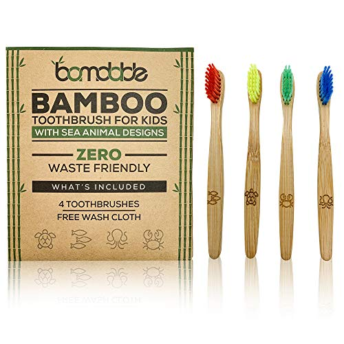 Bamboo Wood Toothbrush with Sea Animal Designs | Pack Of 4 | Eco-Friendly | SOFT Colorful Design For Kids | Free Bamboo Wash Cloth