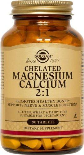 Magnesium 90 Tablets (Solgar Chelated Magnesium Calcium 2:1 Tablets, 90)