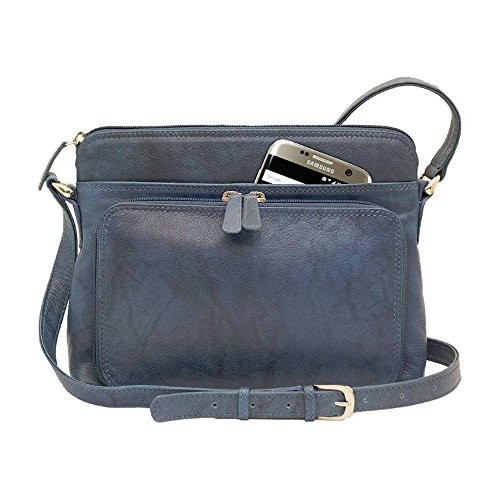 Genuine Soft Leather Cross Body Bag with Front Organizer Wallet, Jeans Blue Jean Handbag Purse