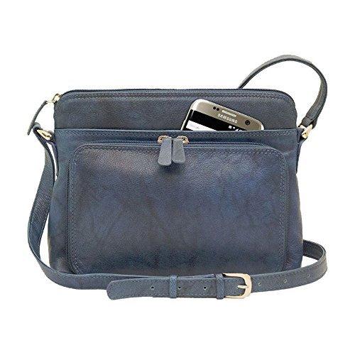 ili New York 6333 Leather Shoulder Handbag with Side Organizer (Jeans Blue)