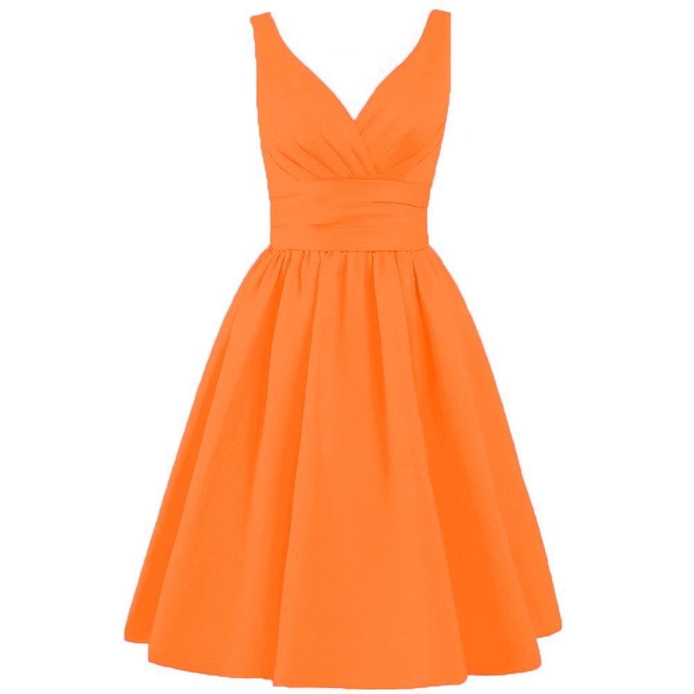 orange CiONE Short Evening Dress Satin Homecoming Dress Aline Formal Dress for Juniors