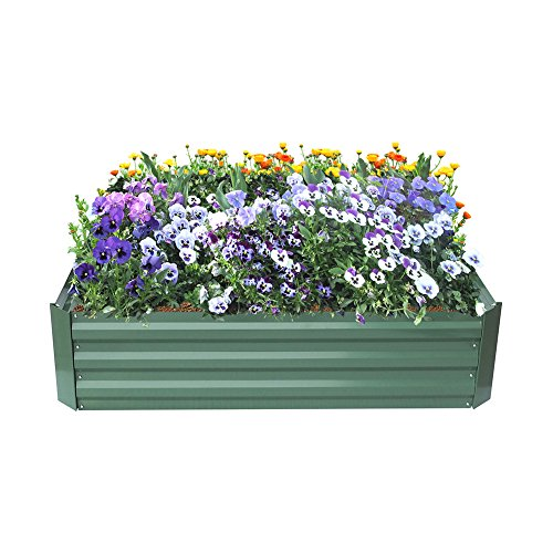 - ART TO REAL Metal Garden Raised Bed, Powder-Coated Raised Planter for Vegatable Flower Grows, Anti-Rust, No Crack, No Decay, 47.2'' L x 35.4'' W x 11.8'' H