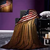 smallbeefly American Flag Digital Printing Blanket United States Design on a Vertical Retro Wooden Rustic Back Old Glory Country Summer Quilt Comforter Blue Red