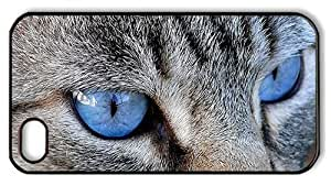 Hipster iPhone 4S unique case Cat Blue Eyes PC Black for Apple iPhone 4/4S