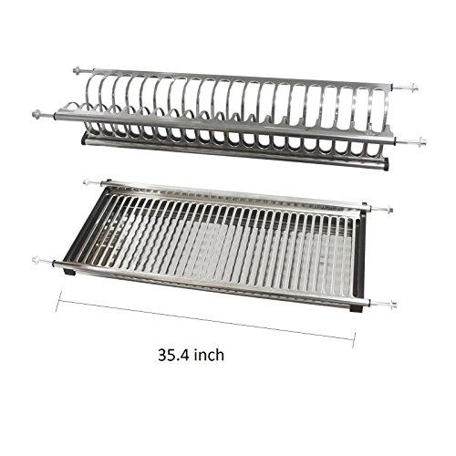 "Modern 2 Tier Kitchen Folding Dish Drying Dryer Rack 35.4"" F"