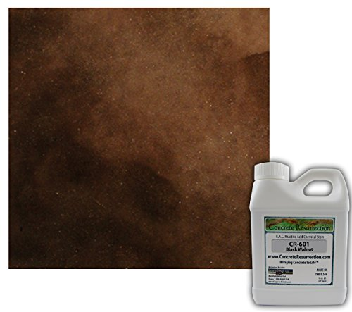 Concrete Stain Professional Grade Easy to Use Black Walnut (Dark Brown to Black Color) - 16oz Sample Size Acid (Black Concrete Stain)