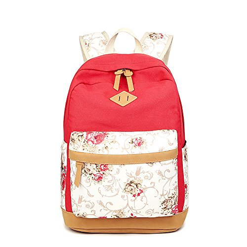 lona Casual para Flor escolar Rojo ligera portátil niñas bolso adolescentes impresa mochilas mochila zqw5W5ZEc