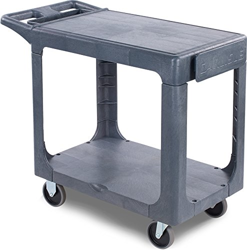 Carlisle UC194023 Polypropylene Flat Shelf Utility Cart, 500 lbs Capacity, 40