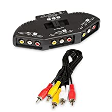 Fosmon 3 Port-Way Composite AV Audio/Video/Game Selector RCA Switch with Cable Adapter for XBox, XBOX 360, PS1, PS2, PS3, Gamecube, Wii, DVD, VCR - (Black)