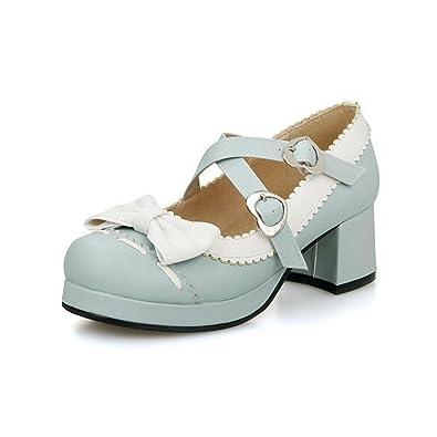 Damen PU Leder Quadratisch Zehe Gemischte Farbe Schnalle Pumps Schuhe, Cremefarben, 40 VogueZone009