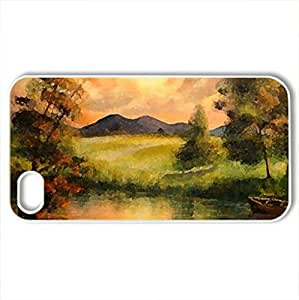 Sunset Landscape - Case Cover for iPhone 4 and 4s (Sunsets Series, Watercolor style, White)