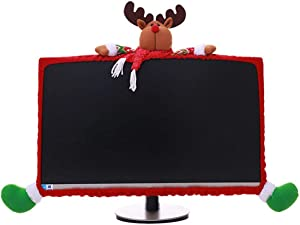 Christmas Computer Monitor Cover, Elastic Xmas Decorations Reindeer Computer Laptop Monitor Border Cover for Home Office Decor Year Gift Ideas