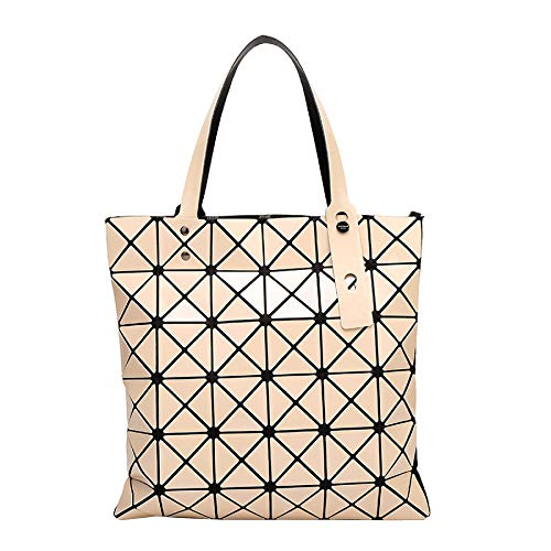 Womens Geometric Tote Beige Plaid Brillante Hombro Pu La Bolso De Bag Fashion Cuero Oq66Wx5F