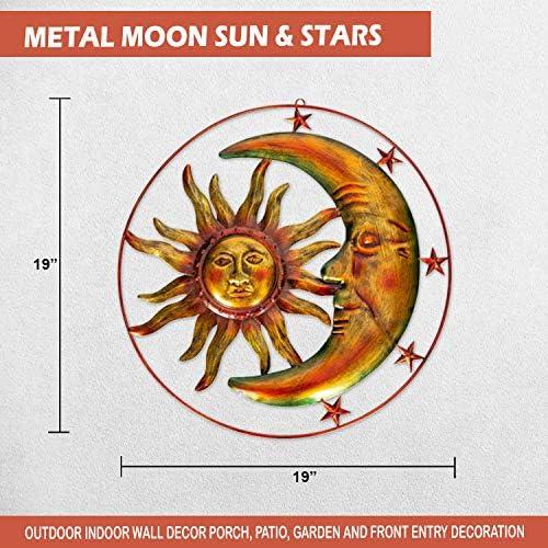 Large Metal Sun Moon Celestial Garden Decor Art Patio Porch Wall Indoor Outdoor
